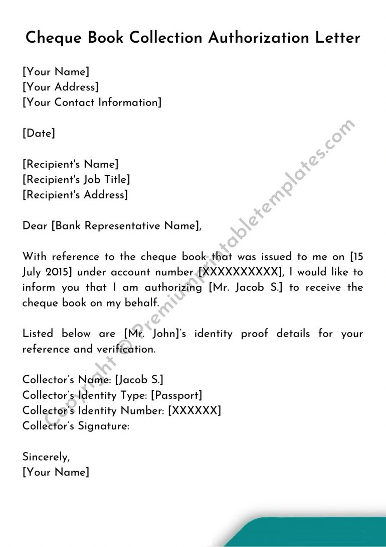 Cheque Book Collection Authorization Letter Template