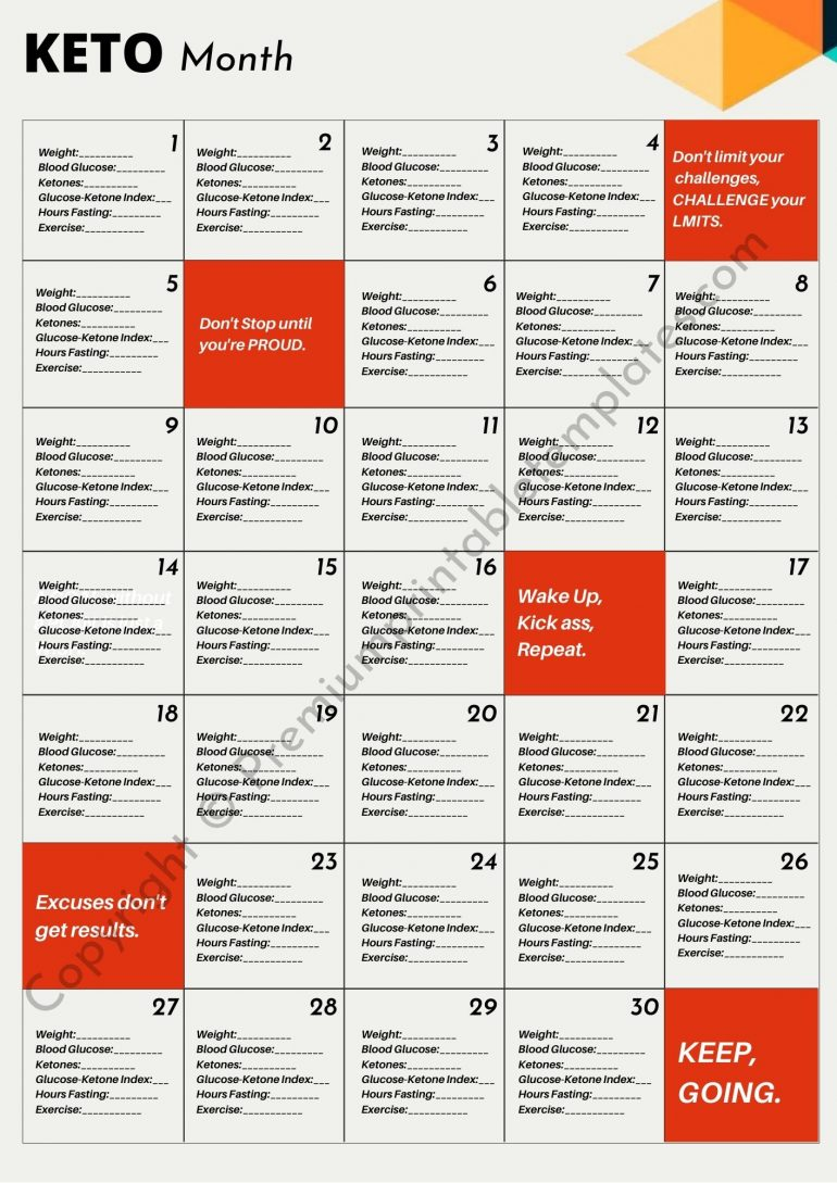 Keto Monthly Planner
