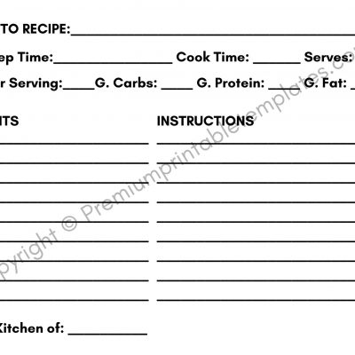 Keto Printable Recipe Card