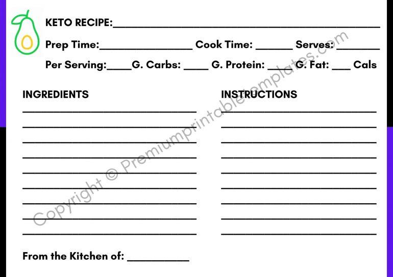Keto Recipe Card