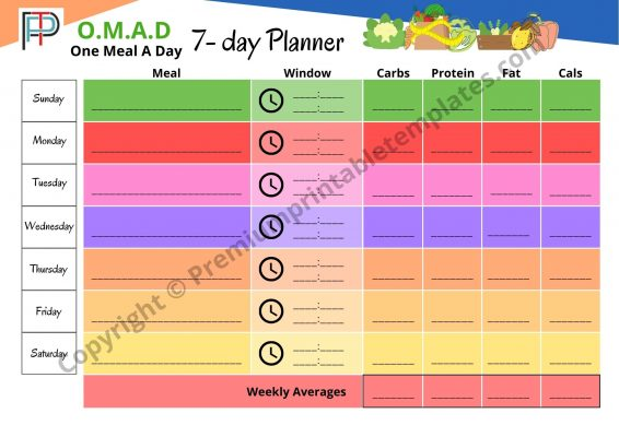 OMAD One Meal A Day Planner, Tracker