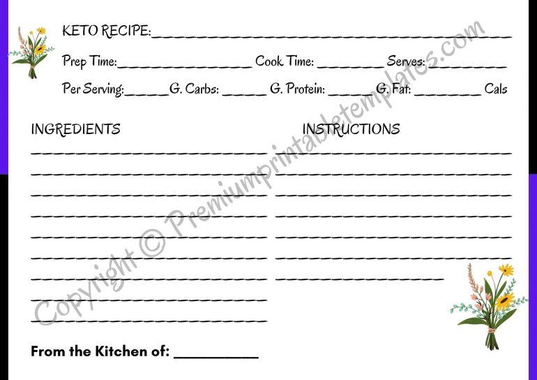 Printable Keto Recipe Card