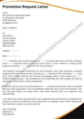 Printable Promotion Request Letter