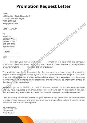 Promotion Request Letter PDF