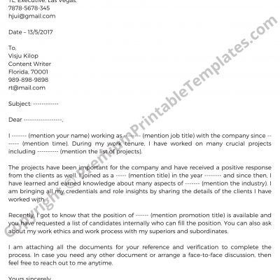 Sample Promotion Request Letter