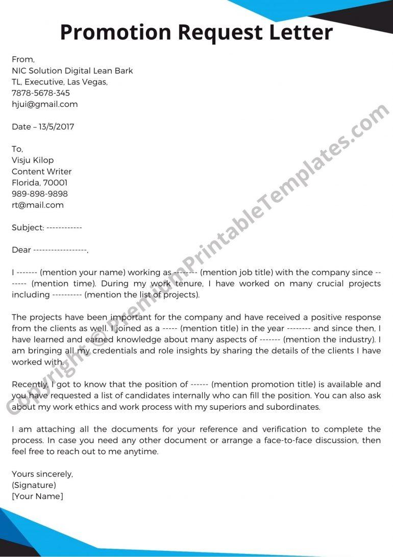 Sample Promotion Request Letter