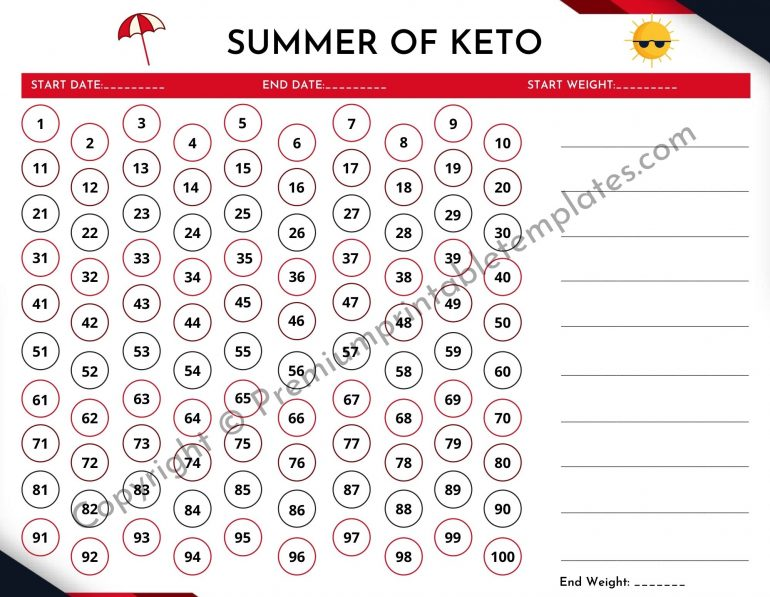 Summer 100 Days of Keto Tracker [Landscape]