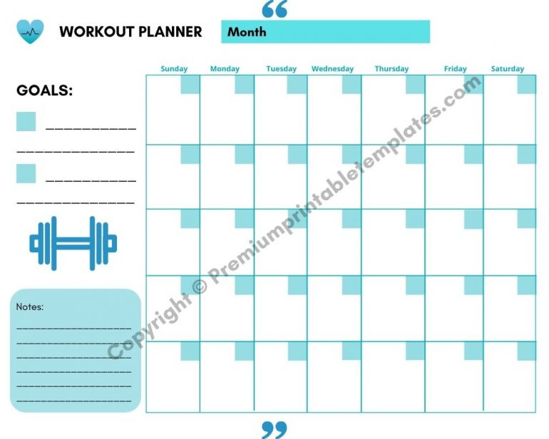 Workout Planner Blue with Goals