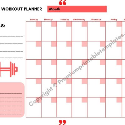 Workout Planner Red with Goals