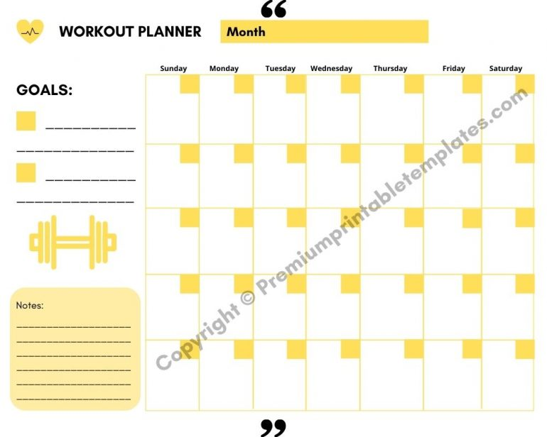 Workout Planner Yellow with Goals