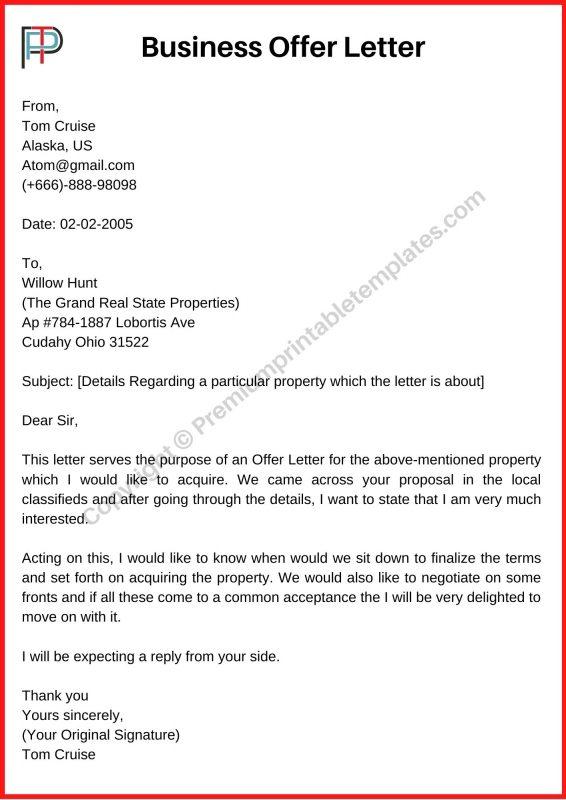 Printable Business Offer Letter