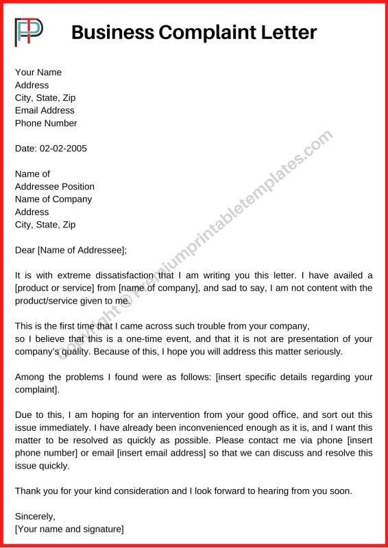 Printable Complaint Letter