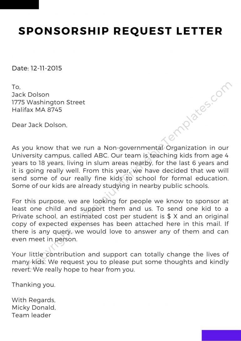 Printable Sponsorship Request Letter