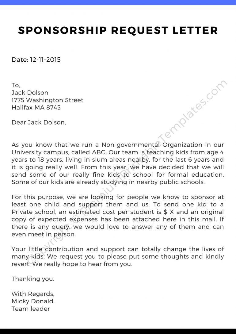 Sponsorship Request Letter Pdf