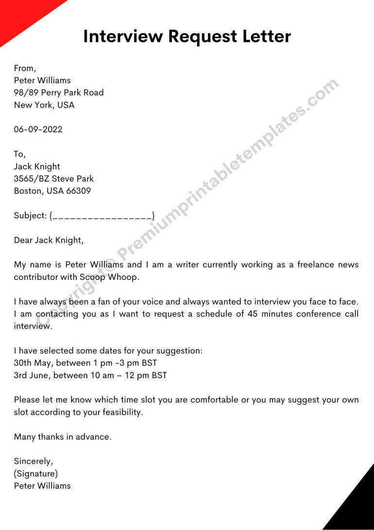 request letter for interview