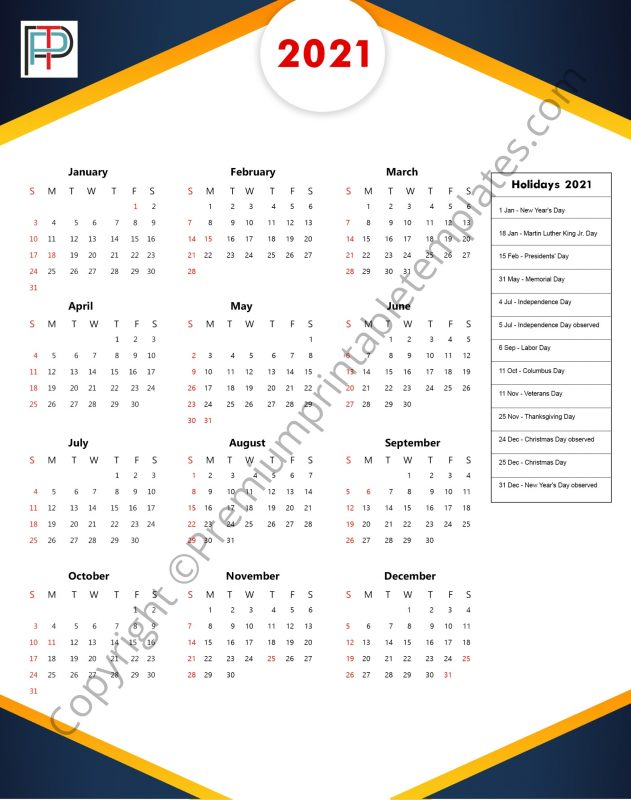 Printable 2021 Yearly Calendar with Holidays in PDF and ...