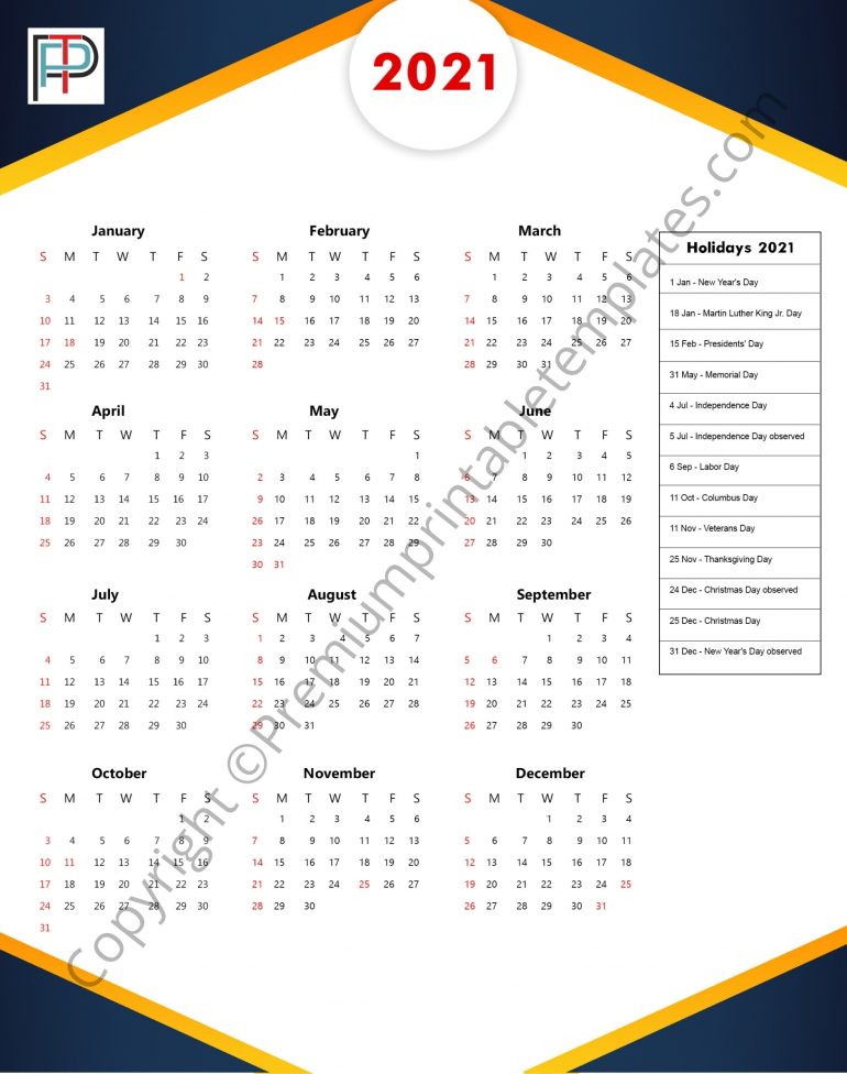 2021 yearly calendar with holidays