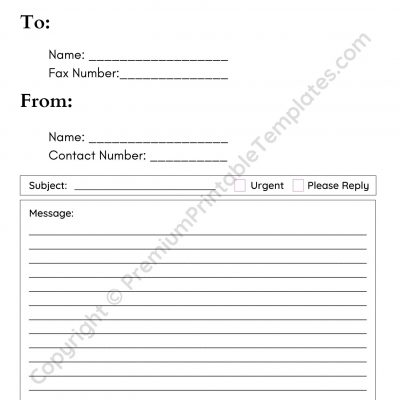 Generic Fax Cover Sheet Template