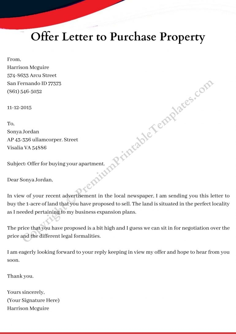 sample offer letter to purchase property