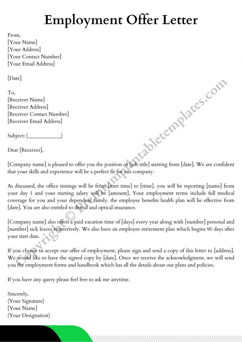 Printable Employment Offer Letter