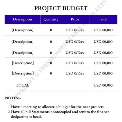 Printable Project Budget Template