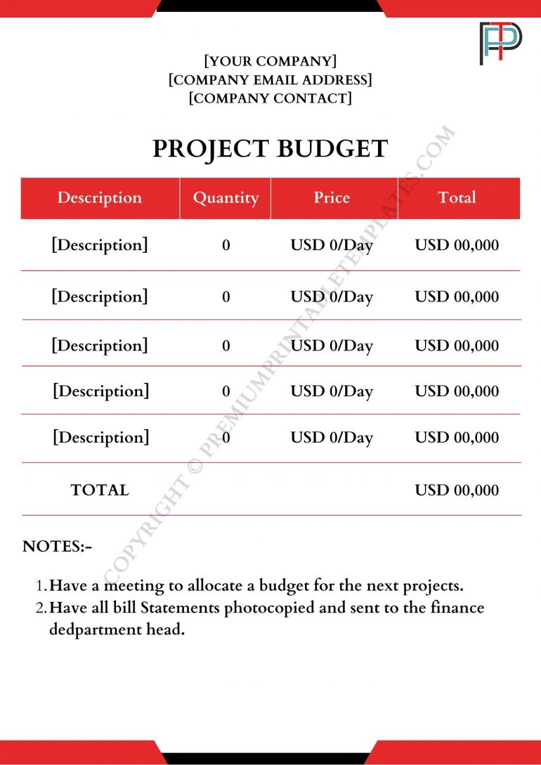 Project Budget Template
