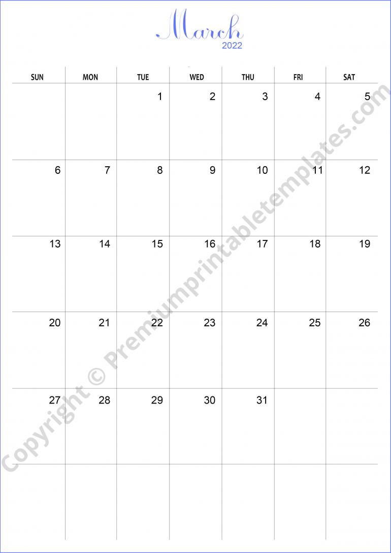 March 2022 Calendar