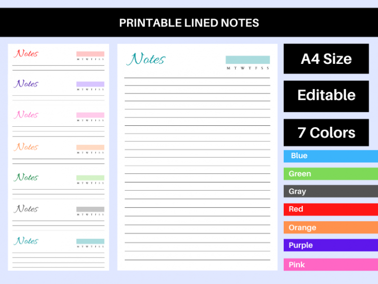 Printable Lined Notes PDF