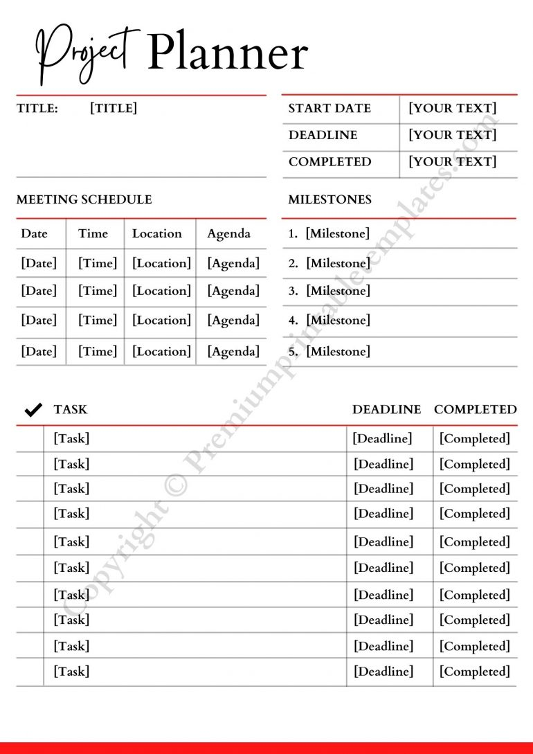 Project Planner Word Format