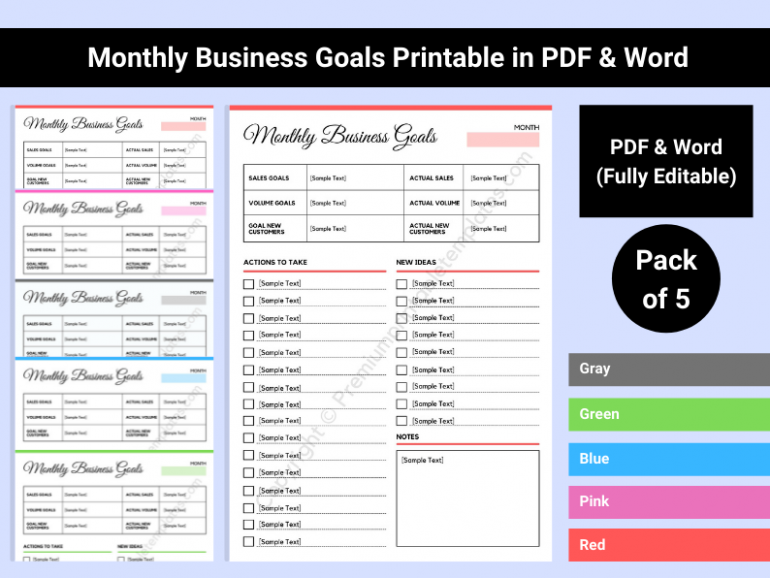 Monthly Business Goals Download